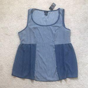 Torrid navy blue & white pinstripe sleeveless tank
